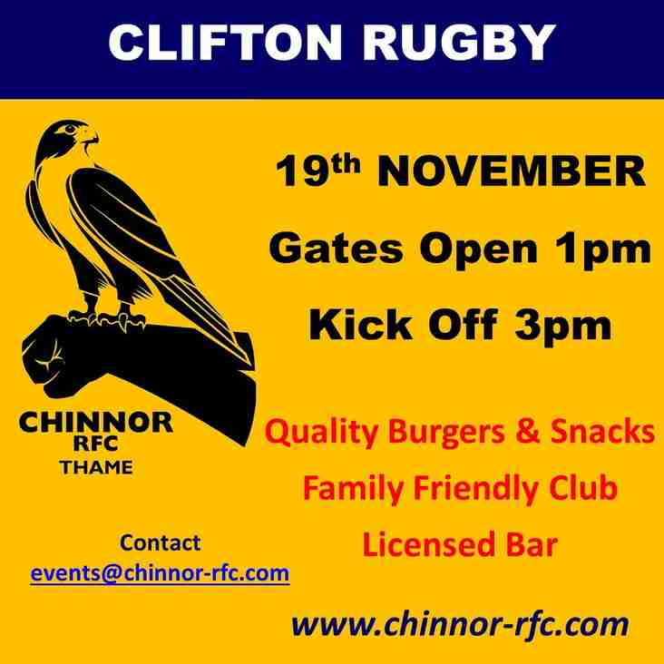 Chinnor welcome Clifton this Saturday