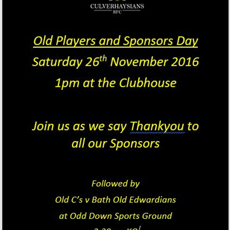 Old Players and Sponsors Day - Saturday 26th November 2016