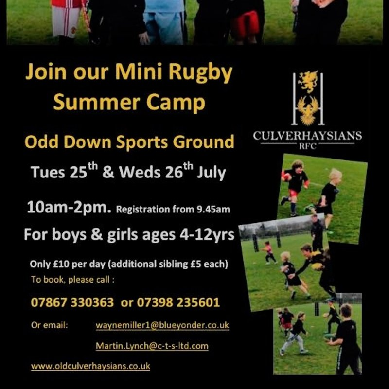 Old Culverhaysians RFC Summer Camps