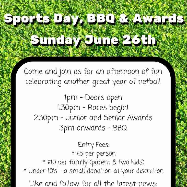 Sunday June 26th is Sports Day, BBQ and Awards!