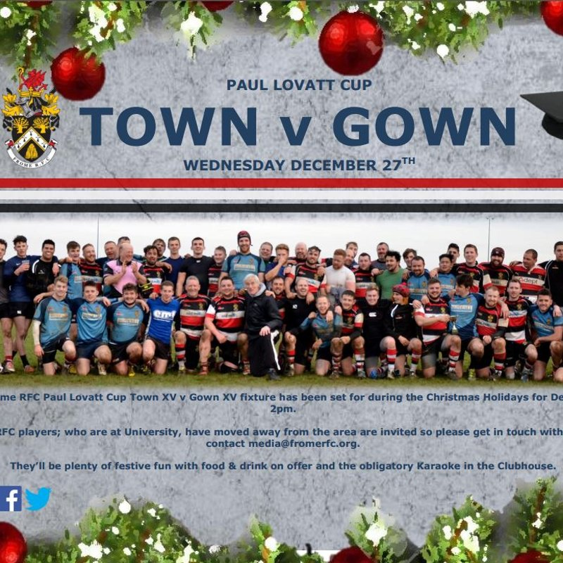 Frome RFC 'Town v Gown' Paul Lovatt Cup