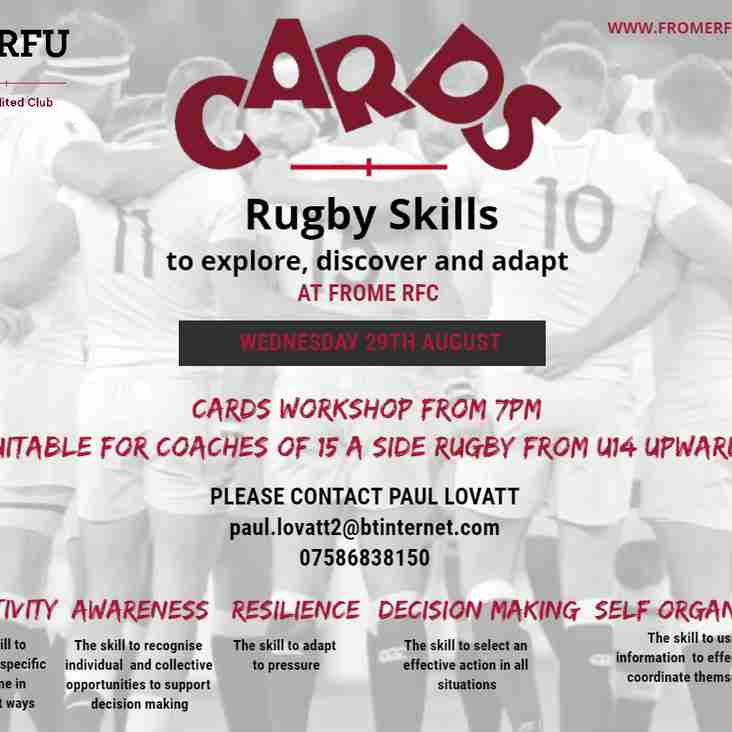 RFU CARDS workshop at Frome RFC