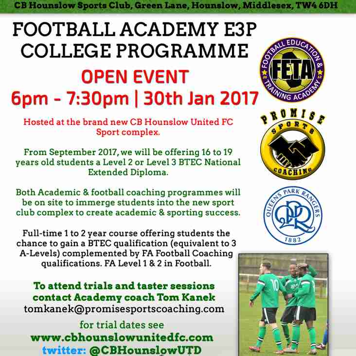 FETA Academy, 1 week to go, earn while you learn, college programme Parents Evening