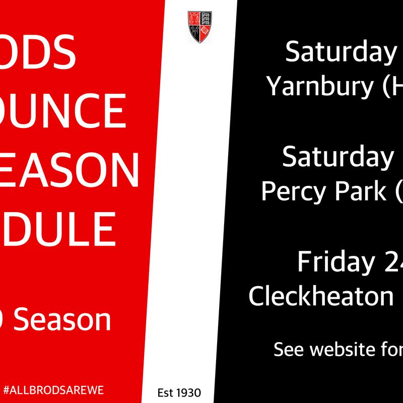 Brods Announce Pre-Season Schedule