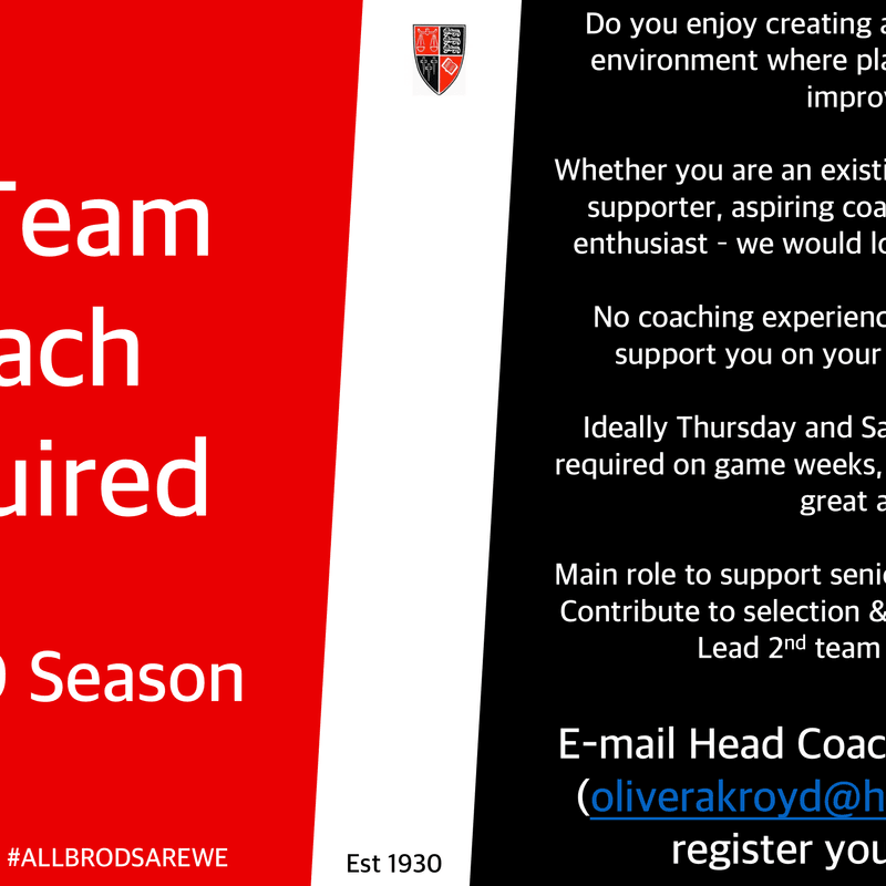 2nd Team Coach Required