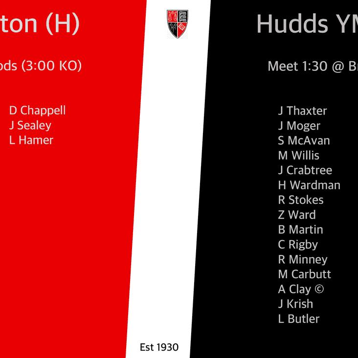 Teams for Saturday 29th September