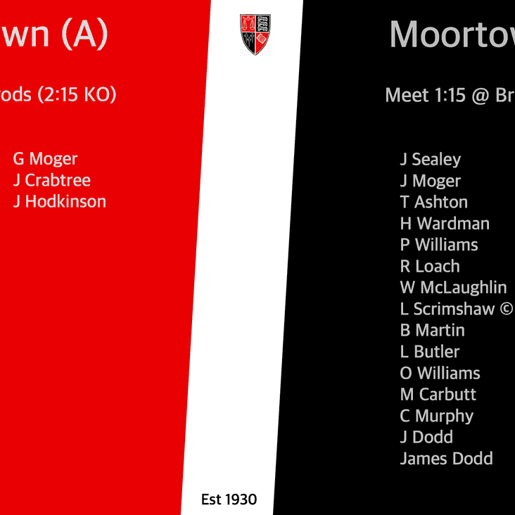 Team for Saturday 24th November