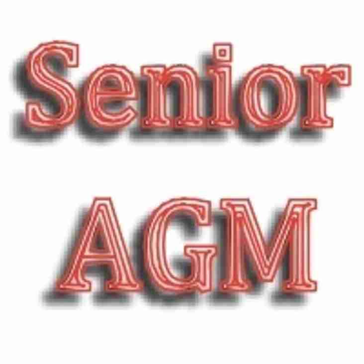 Senior club AGM. Thursday 7th July at 18:30 at The Rectory