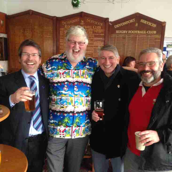 Three wise men and Father Christmas enjoy the Exiles day.
