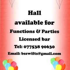 Hall for hire with licensed bar