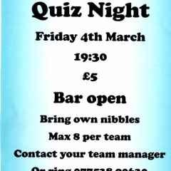 Swifts Quiz Nigh Friday 4th March 19:30