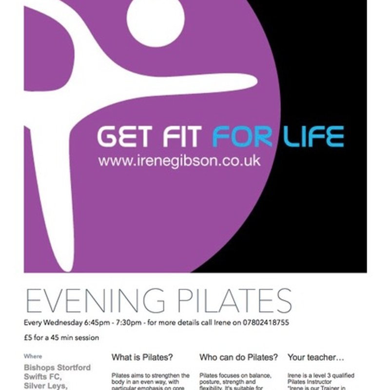Evening pilates classes starting Wednesday 10th May 18:45