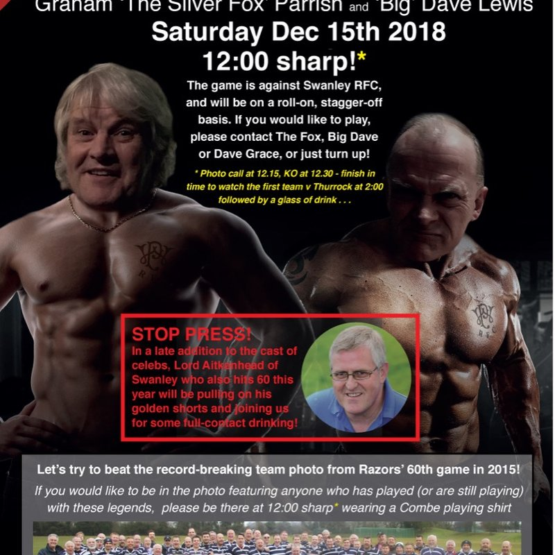 Joint 60th Golden Shorts Game - Saturday 15th December.