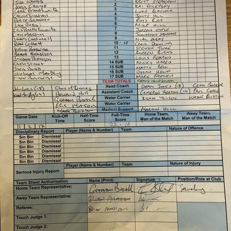 Hensingham V Ellenborough 11-2-17 (Friendly)