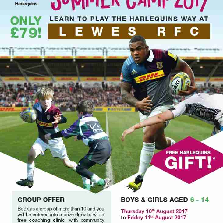 Bookings open for Harlequins camp 10-11 August