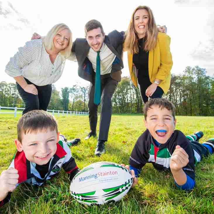 Manning Stainton present rugby equipment