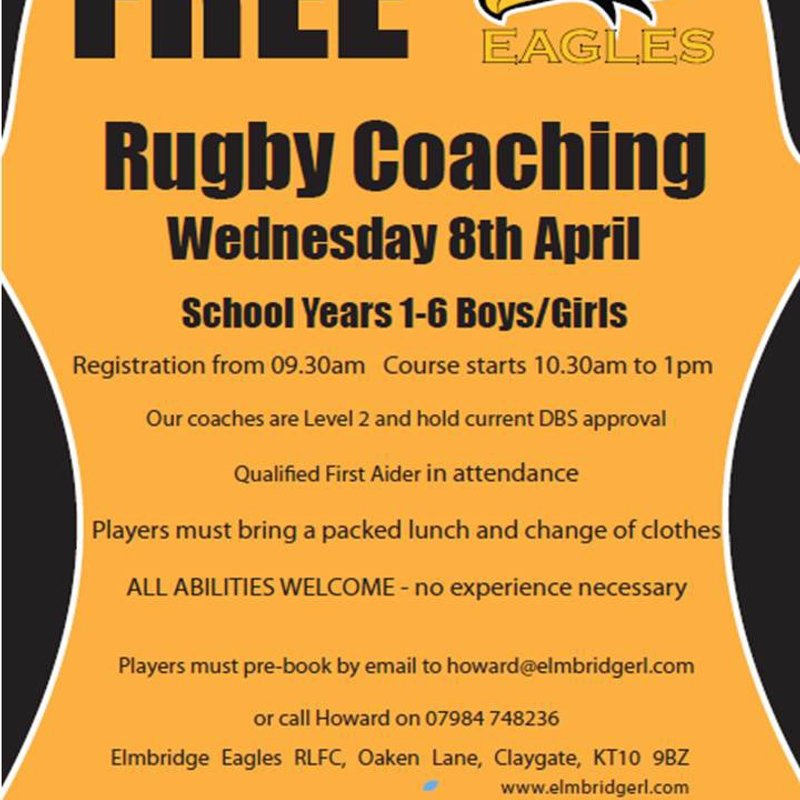 Free Rugby Coaching - Wednesday 8th April 2015