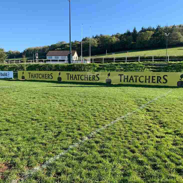 Gordano Welcome Thatchers Cider as Pitchside Advertisers
