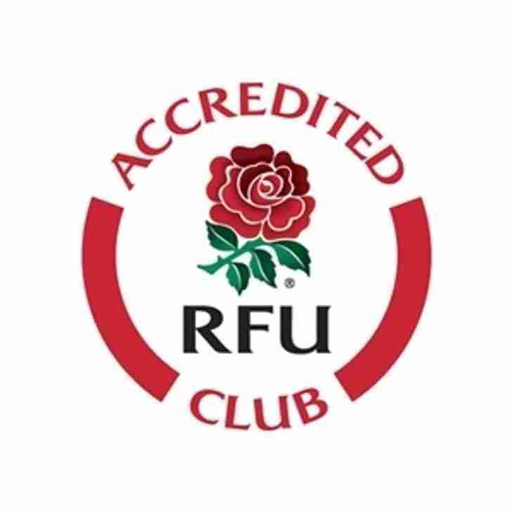 CLUB ACHIEVES RFU ACCREDITATION ( FOR THE SECOND TIME)
