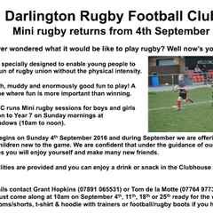 MINI RUGBY RETURNS ON SUNDAY 4TH SEPTEMBER  - free taster sessions for new players