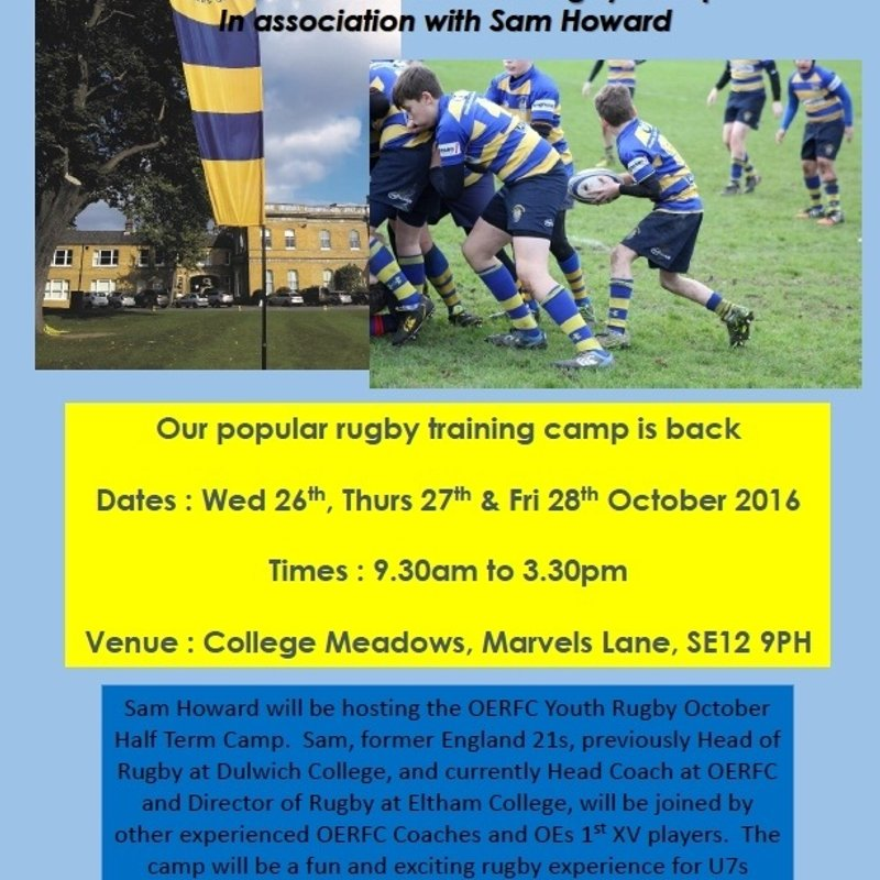 Half Term Rugby Camp - 26 to 28 October - At Eltham College