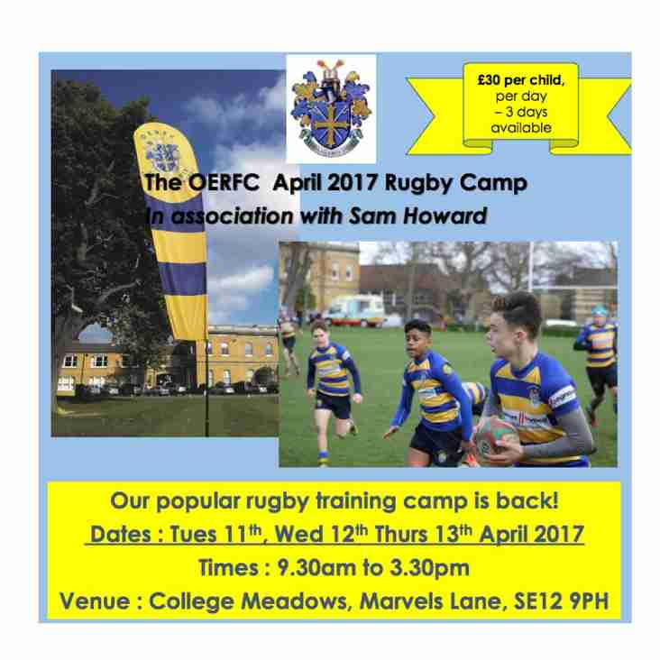 Easter Rugby Camp - 11 to 13 April - At College Meadow