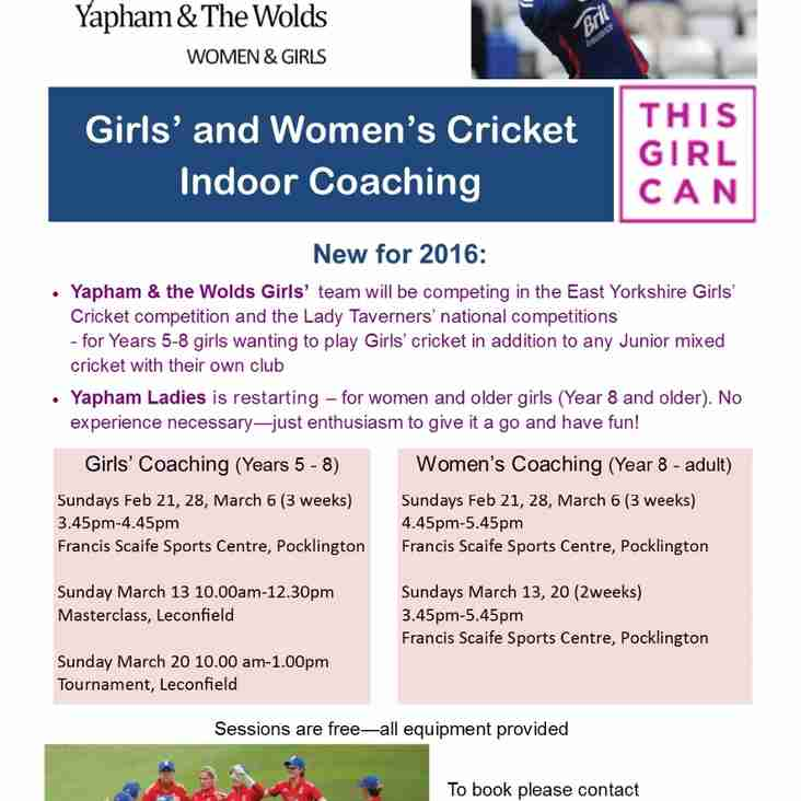 Girls and Women's Cricket at Yapham