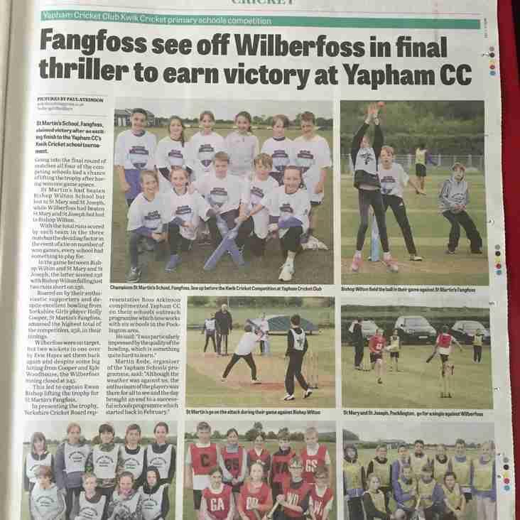St Martin's, Fangfoss, win schools cricket tournament!