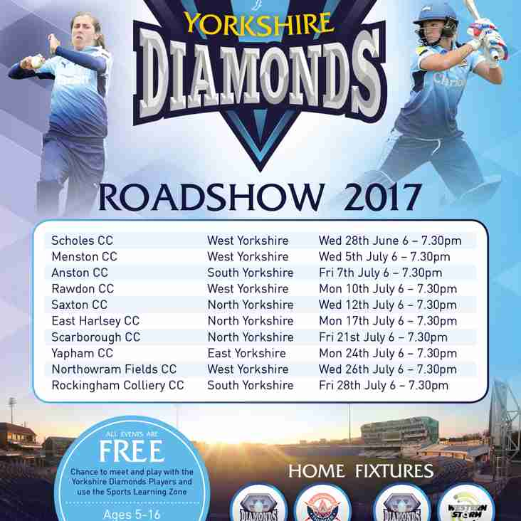 Yorkshire Diamonds Roadshow, Monday 24th July, 6pm - 7.30pm