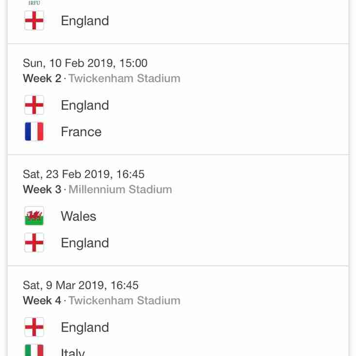 ++ 2019 6 Nations Tickets ++