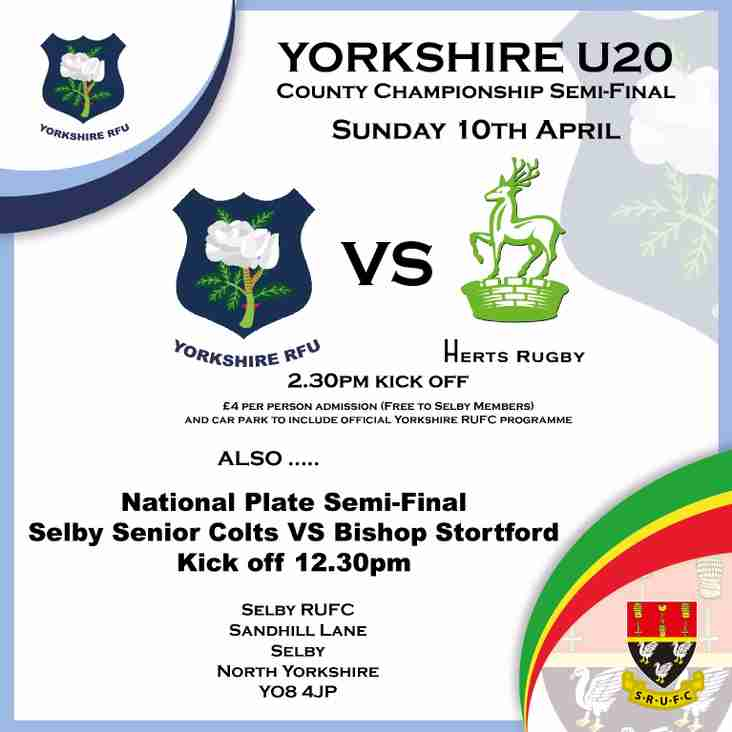 Sunday 10 April - Senior Colts in National Plate semi final & Yorkshire Under 20s County Championship Semi-Final