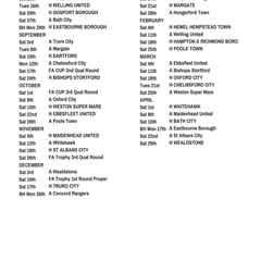 2016/17 Fixtures