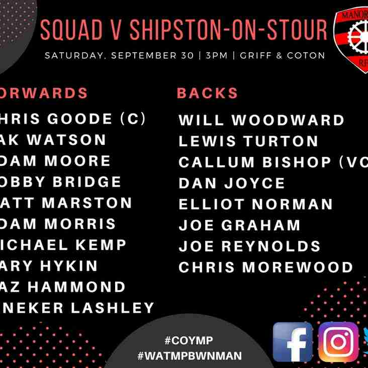 Squad for Shipston (H) Saturday, September 30