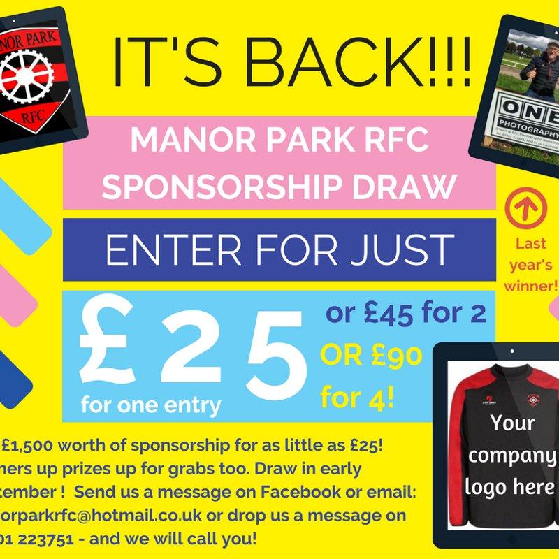 Manor Park RFC sponsorship raffle is BACK!