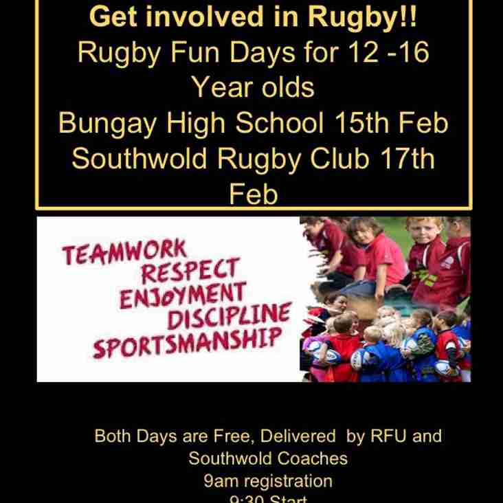 Half term Youth rugby camps at Southwold