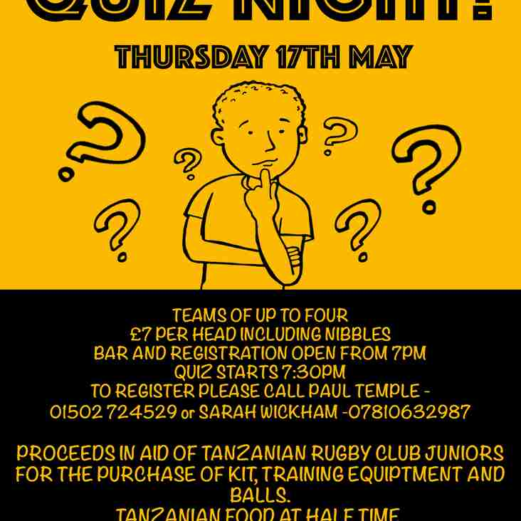QUIZ NIGHT on Thursday 17th May