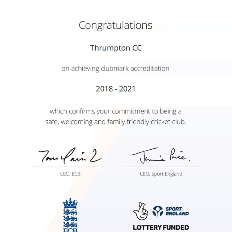 Badgers Receive ECB Clubmark Re-Accreditation!