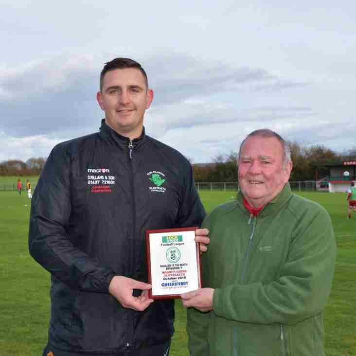 Warren Gibbs Manager of the Month