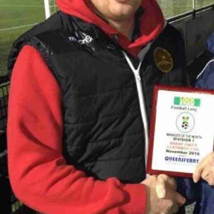 Barry Owen wins Manager of the month div 1 for August