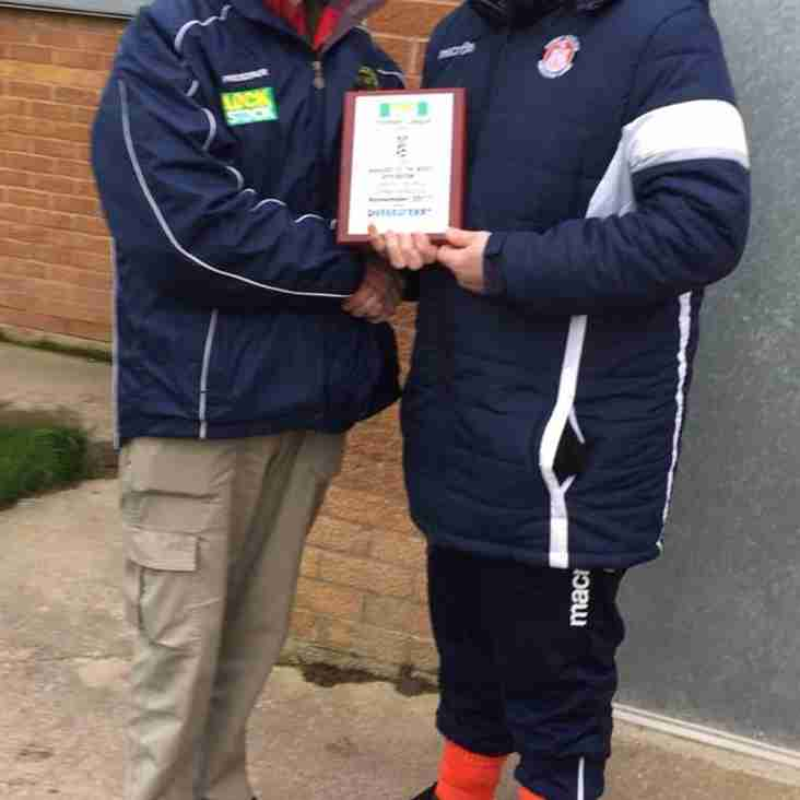 Conwy Manager receives has manager of the month award