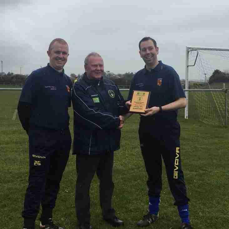 Aberffrew Manager recieves his award