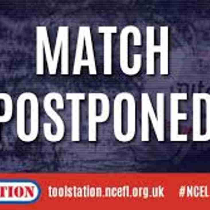 Match Postponed Harrogate Railway v Penistone Church Waterlogged Frozen Pitch