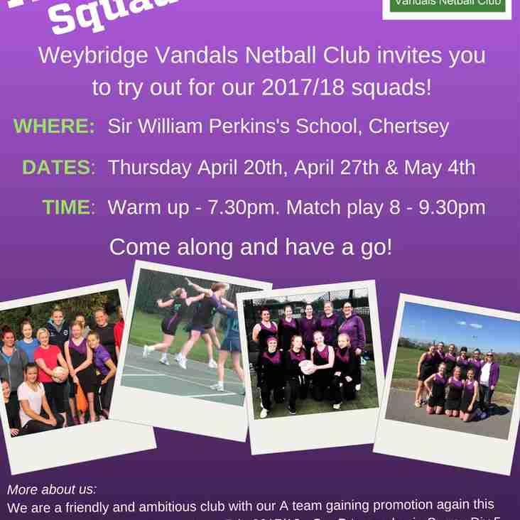 Senior section club trials for the 2017/18 season
