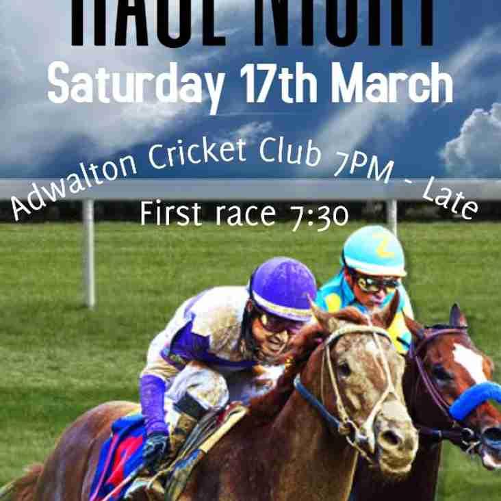 Race night Saturday 17th March