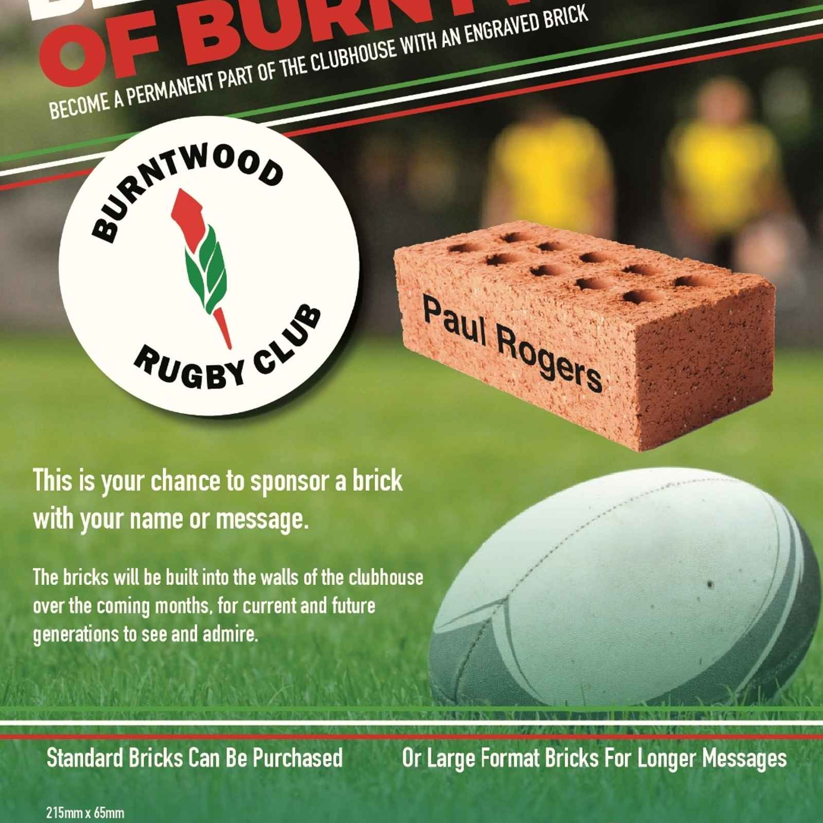 BUY A BRICK FOR YOUR CLUB