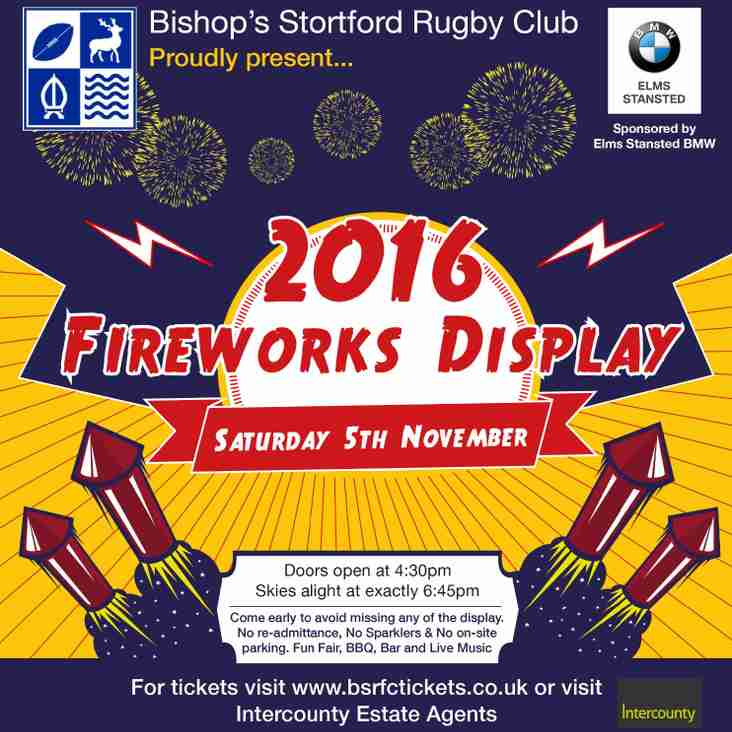 BSRFC Fireworks Saturday 5th November 2016