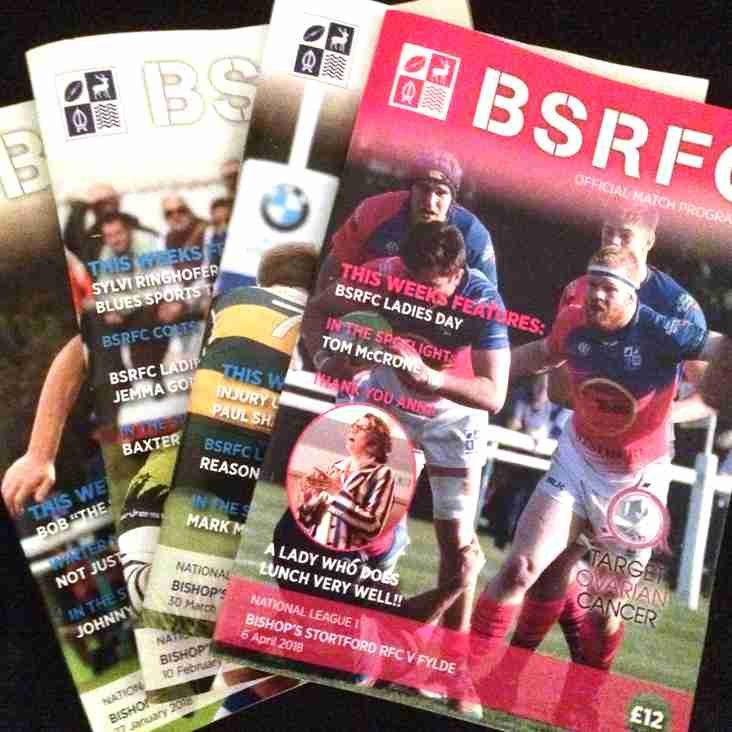 BSRFC Match day programmes - 2017/18 season