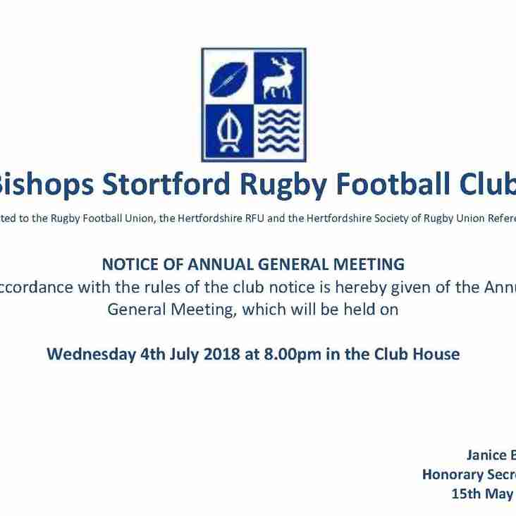 Club AGM Calling Notice issued