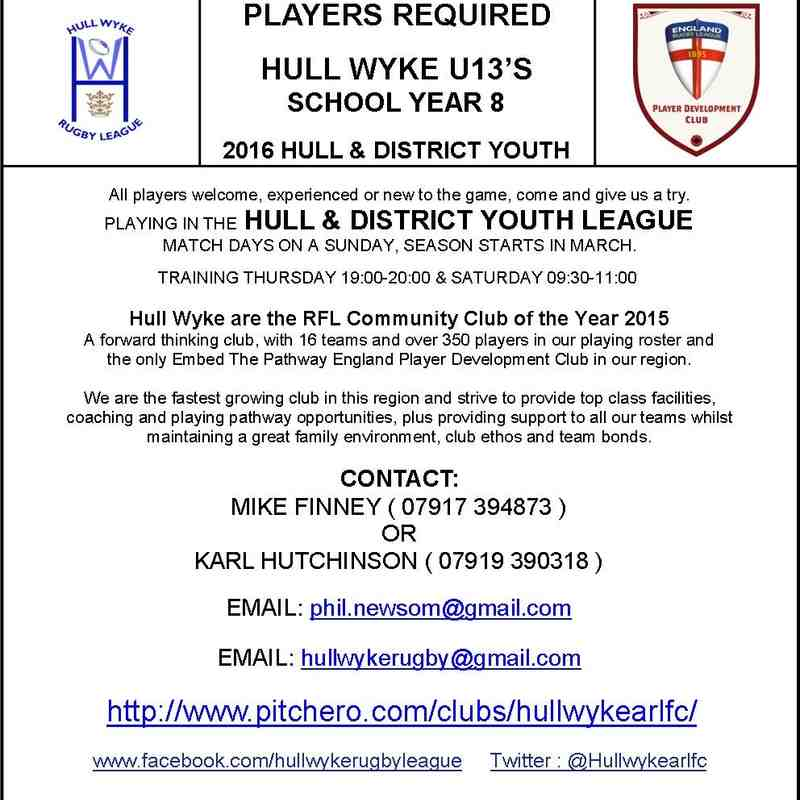 Hull Wyke players required 2016