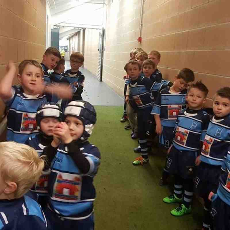 U7s are player escort mascots for Hull FC opening SL game 2016